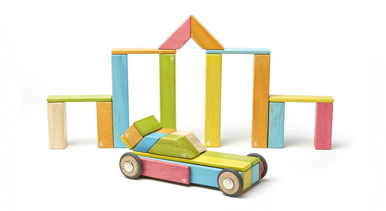 Giocattoli STEM per bambini di 2-4 anni: Costruzioni magnetiche di legno, set da 42 pezzi di TEGU