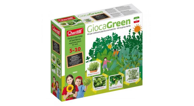 Giocattoli educativi di biologia: Gioca Green - Kit per coltivare piante aromatiche di Quercetti
