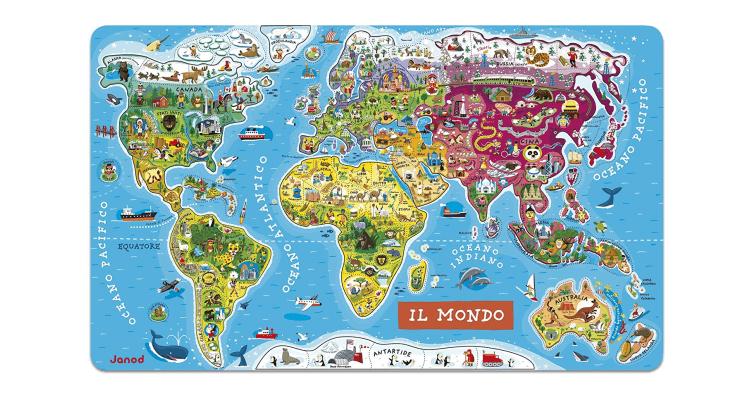 Giocattoli educativi di geografia e astronomia: Puzzle Magnetico del Mondo (versione italiana) di Janod
